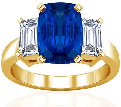 18K Yellow Gold Cushion Cut Blue Sapphire Three Stone Ring