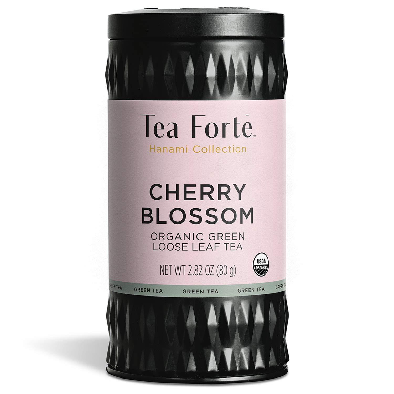 Tea Forte Cherry Blossoms Organic Green Tea, Makes 35-50 Cups, 2.82 Ounce Loose Leaf Tea Canister