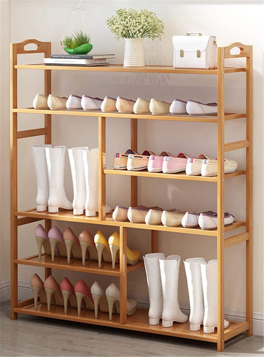 ZJDU Natural Bamboo Wooden Shoe Rack, Free Standing Shelves, Bamboo Shoe Rack Storage Organiser Entryway Shoe Shelf, Made of 100% Natural Bamboo,6Tier100×25×106cm