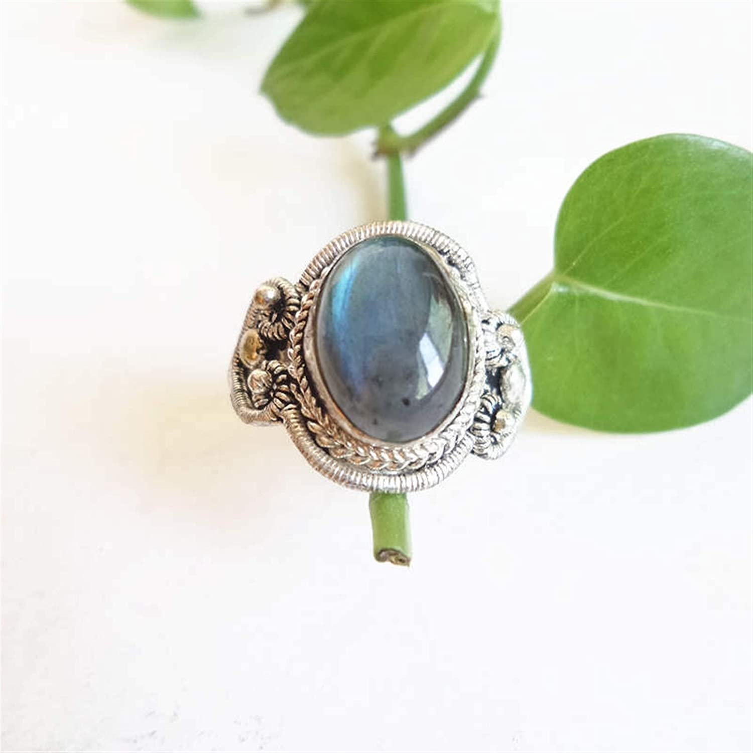 WSJKL Nepal Hand Jewelry Copper Inlaid Natural Labradorite Vintage Rings Open Adjustable Size for Man Last R087 (Color : Resizable)