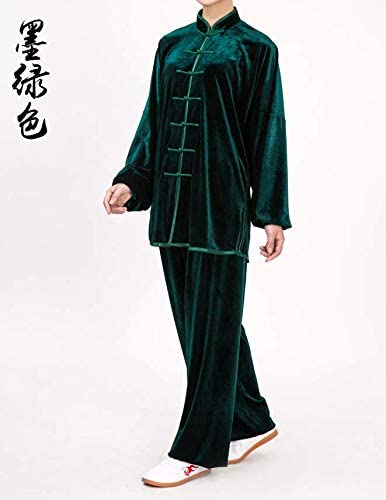 Dark Green Gold Velvet Tai Chi Practice Clothes Autumn and Winter Thick S Code