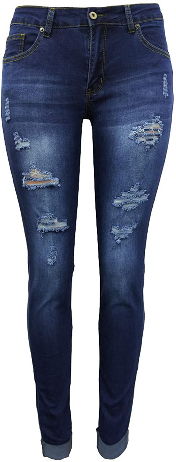 Women's Ripped Skinny Jeans Stretch Distressed Jeans Comfy Destroyed Jeans with Holes Jeggings Trousers (blue,X-Large)