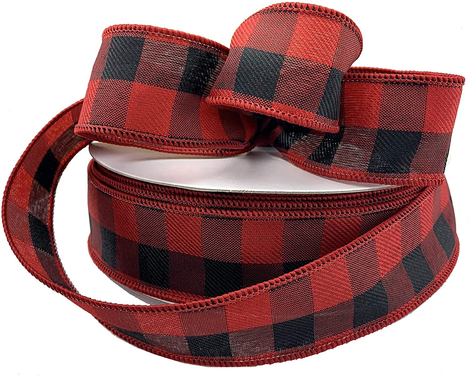 Buffalo Check Wired Christmas Ribbon - 1 1/2
