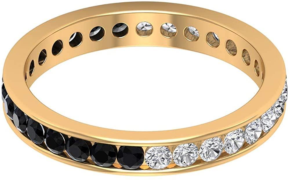 1/2 Ct Certified 2mm Black Onyx Gold Ring, 1/2 Ct Diamond Bridal Eternity Ring, Unique Gemstone Alternating Ring, Statement Wedding Band Ring, 14K Gold
