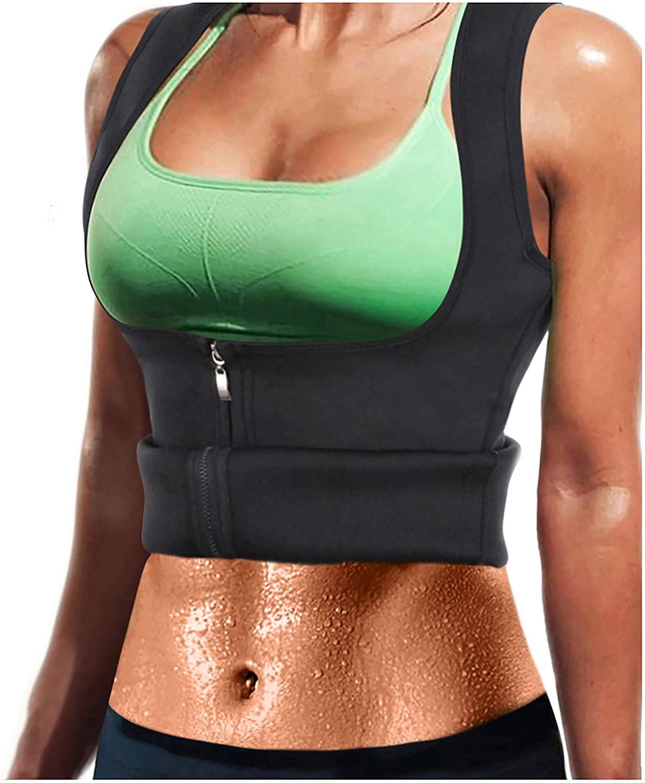 LODAY Women Neoprene Sauna Sweat Waist Trainer Vest with Zipper for Weight Loss Gym Workout Body Shaper Tank Top Shirt