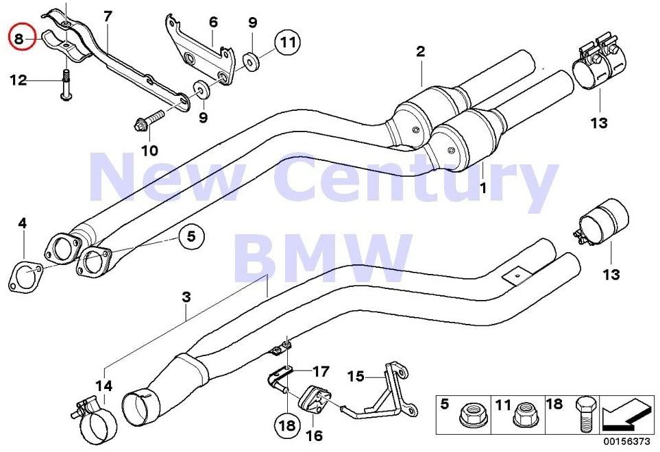 BMW Genuine Catalytic Converter/Front Silencer Center Muffler Clamp 135i M Coupé X1 35iX 135i 335i 335xi 335i 335xi 335i 335xi 335i 335is 335xi 335i 335i 335is