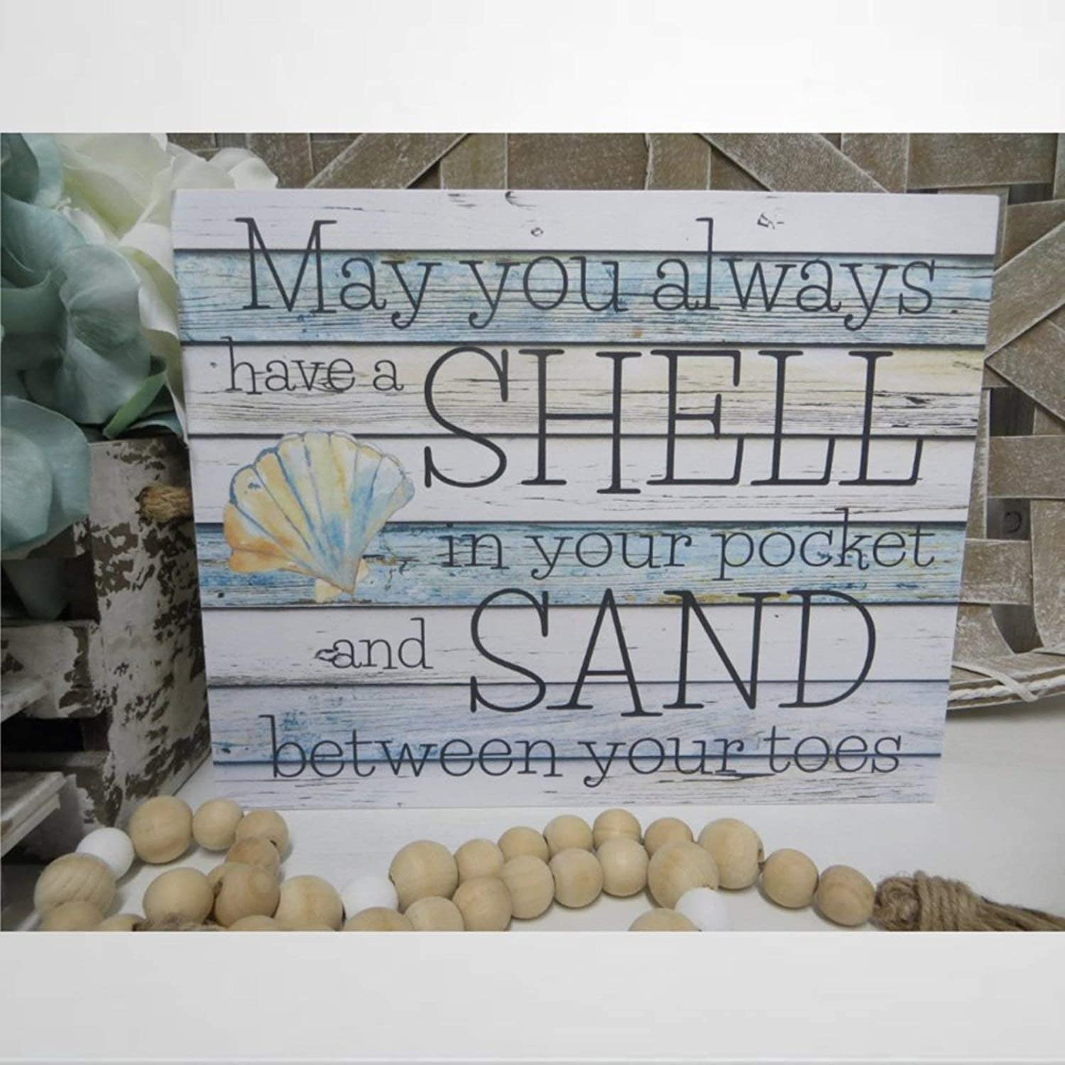 DONL9BAUER Beach Wood Sign, May You Always Have A Shell in Your Pocket and Sand Between Your Toes, Wall Hanging, Beach House Decor, Beach Lover Present