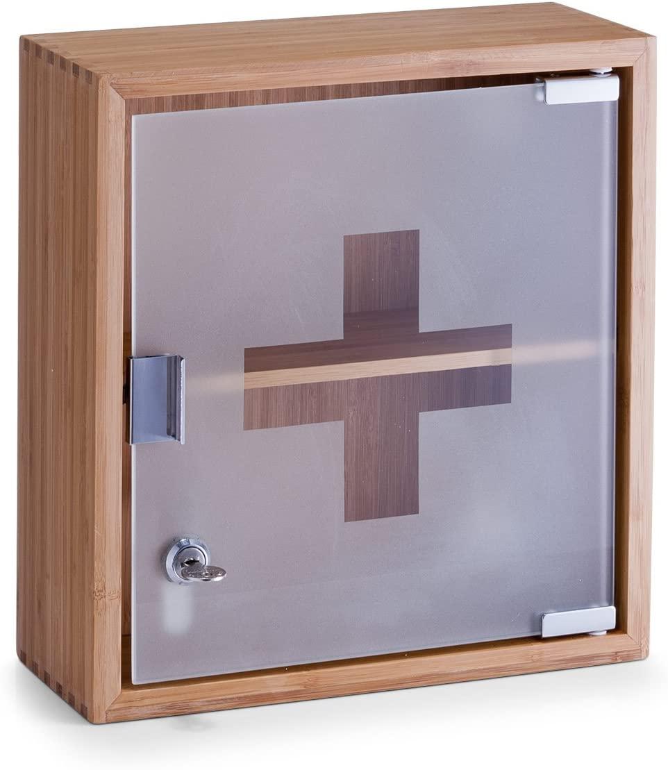 Zeller 13594 Medicine Cabinet 29x12x31 cm Bamboo and Glass