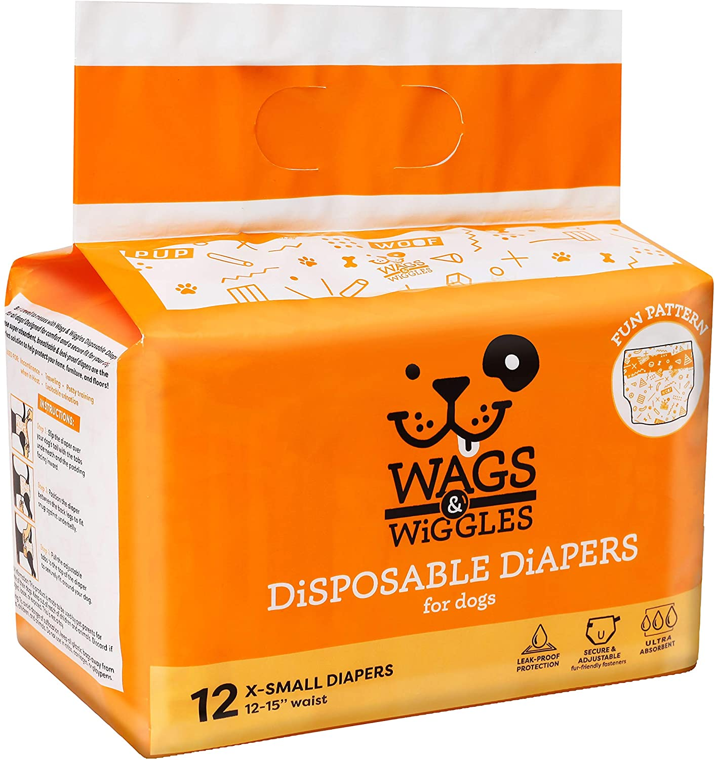 Wags & Wiggles Female Dog Diapers and Male Dog Wraps   Disposable Female Dog Diapers and Disposable Male Dog Wraps   Super Absorbent Dog Diapers Available in a Variety of Sizes