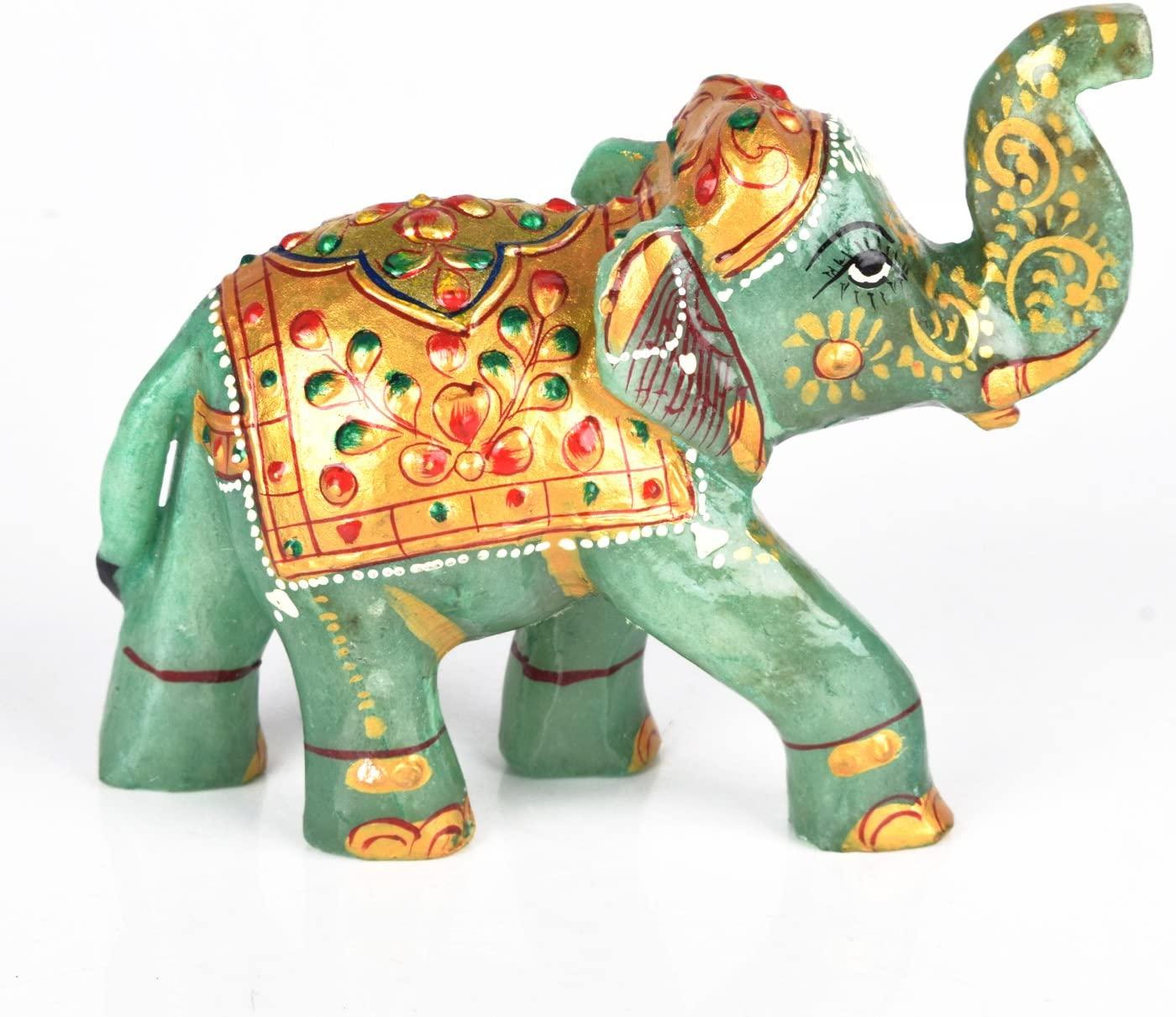 gemhub Fine Gold Work Elephant Figurine Approximately 1247.00 Ct- Green Jade Gemstone Elephants Statue DB-468