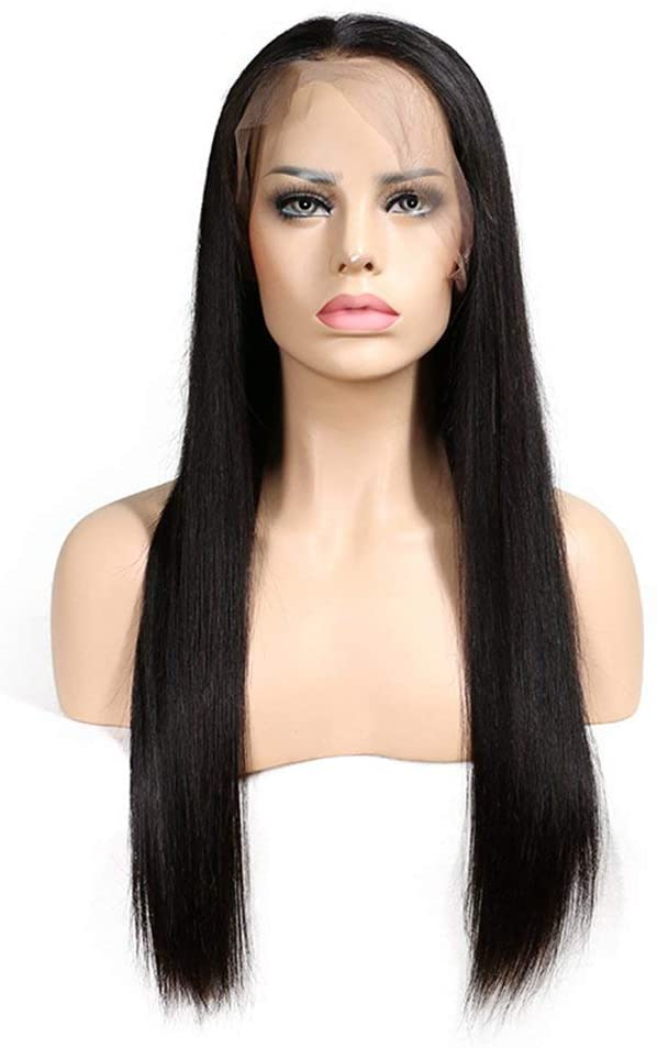 MWPO Straight Long Human Hair Lace Front Wigs Adjustable 130% Density Natural Black (Size : 10 inch)