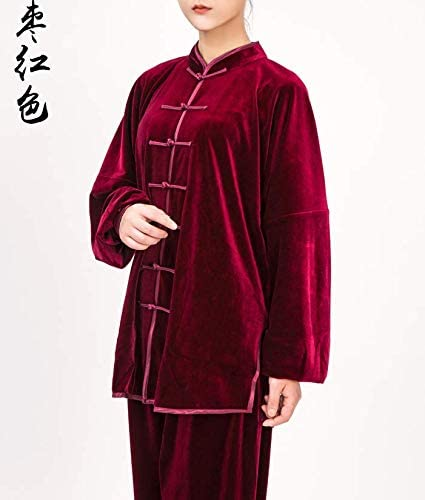 Women's Gold Velvet Tai Chi Practice Clothes Autumn and Winter Thick red Date L Code