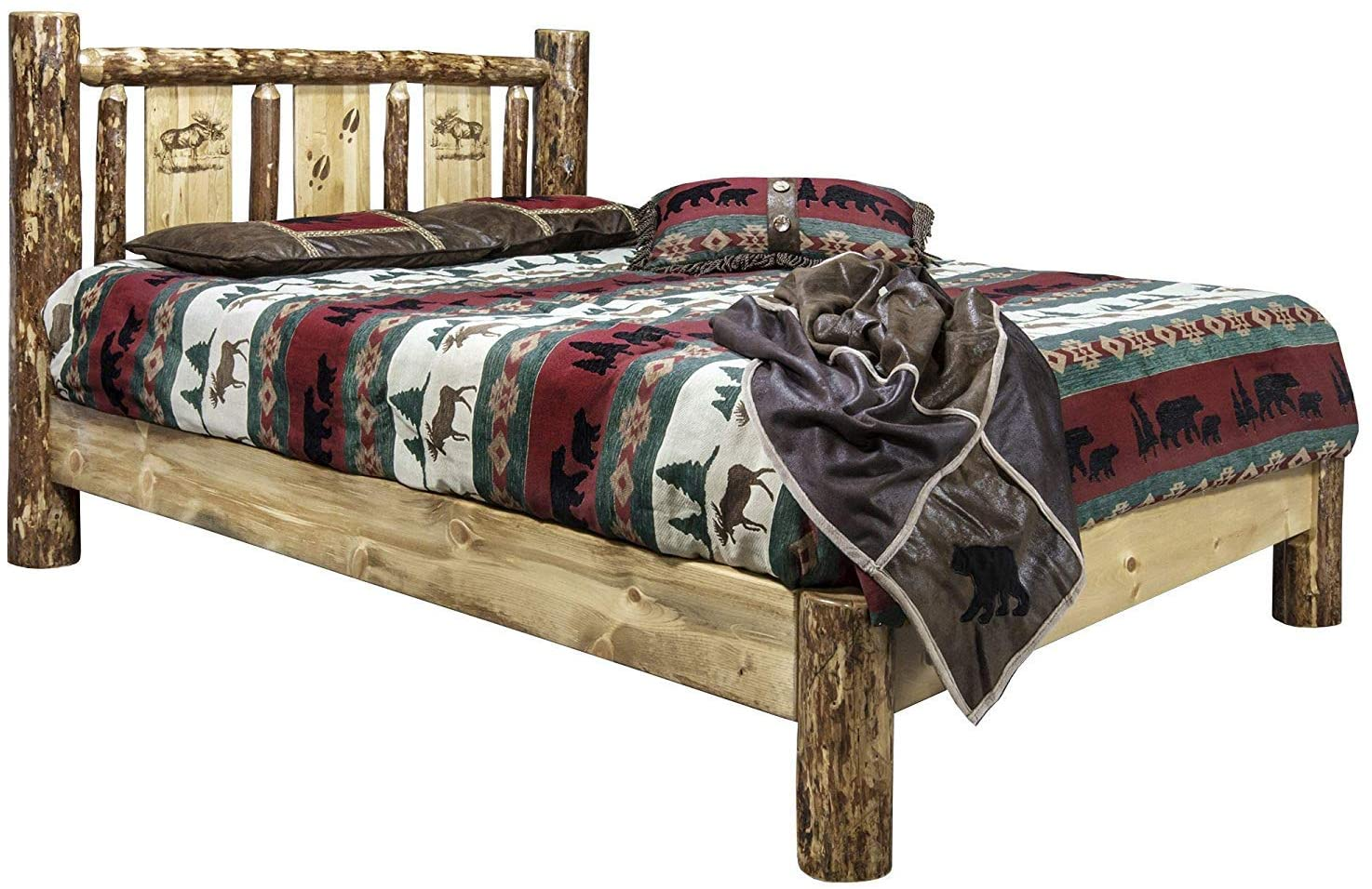 Montana Woodworks Glacier Country Collection Twin Platform Bed w/Laser Engraved Moose Design