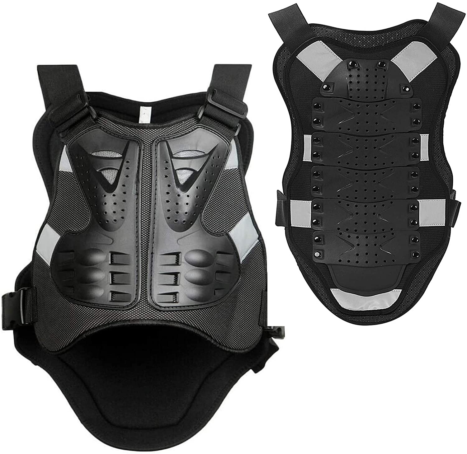 YANZI Motorbike Body Guard Vest, Motorcycle Motorbike Body Armour, Cycling Skiing Riding Skateboarding Chest Back Spine Protector,L