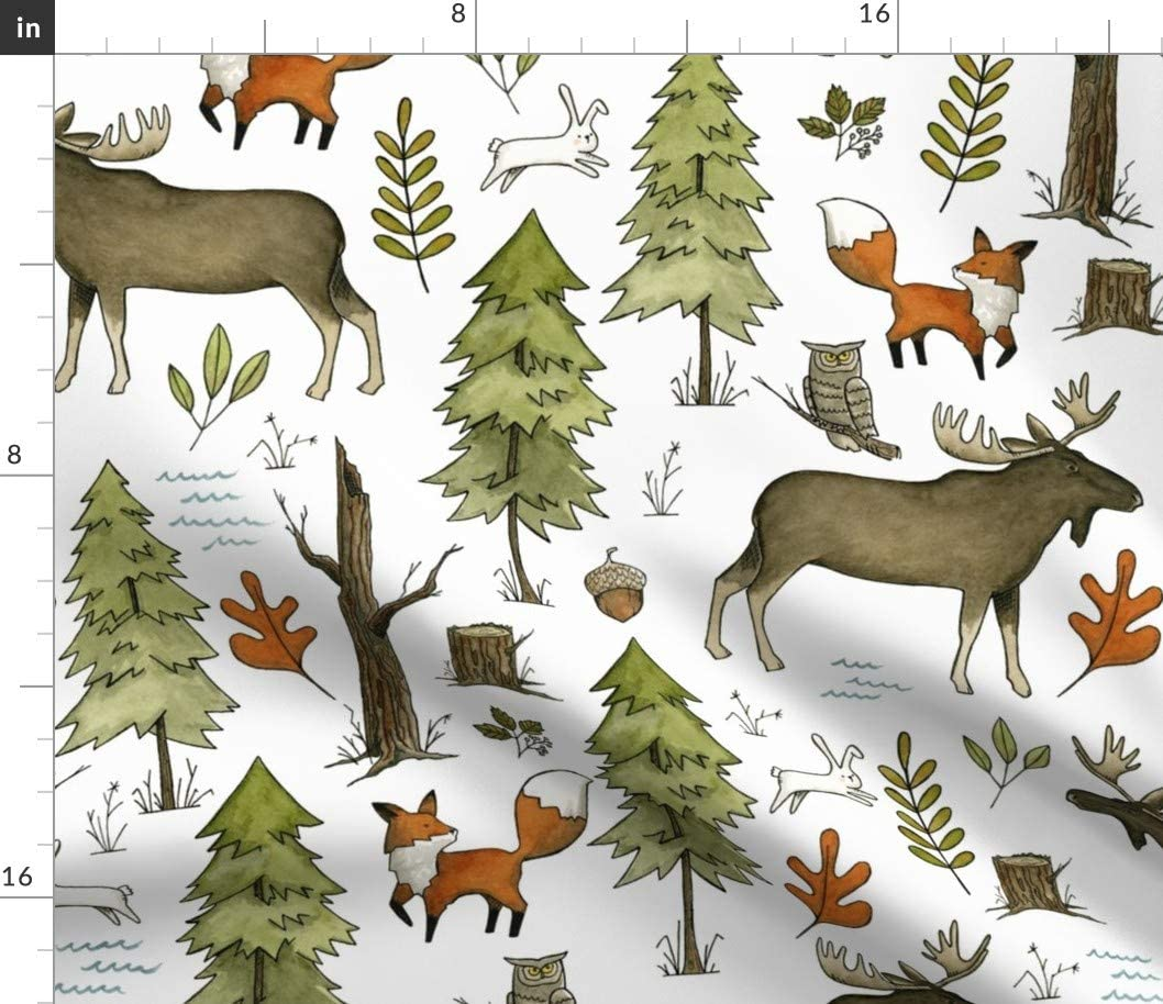 Spoonflower Fabric - Forest Moose Woodland Boy Nursery Animal Watercolor Printed on Chiffon Fabric by The Yard - Sewing Fashion Apparel Dresses Home Decor