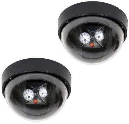 VideoSecu 2 Dummy Fake Imitation Dome Security Cameras with Flashing Light LED Home CCTV Simulated Surveillance Cameras 1RM