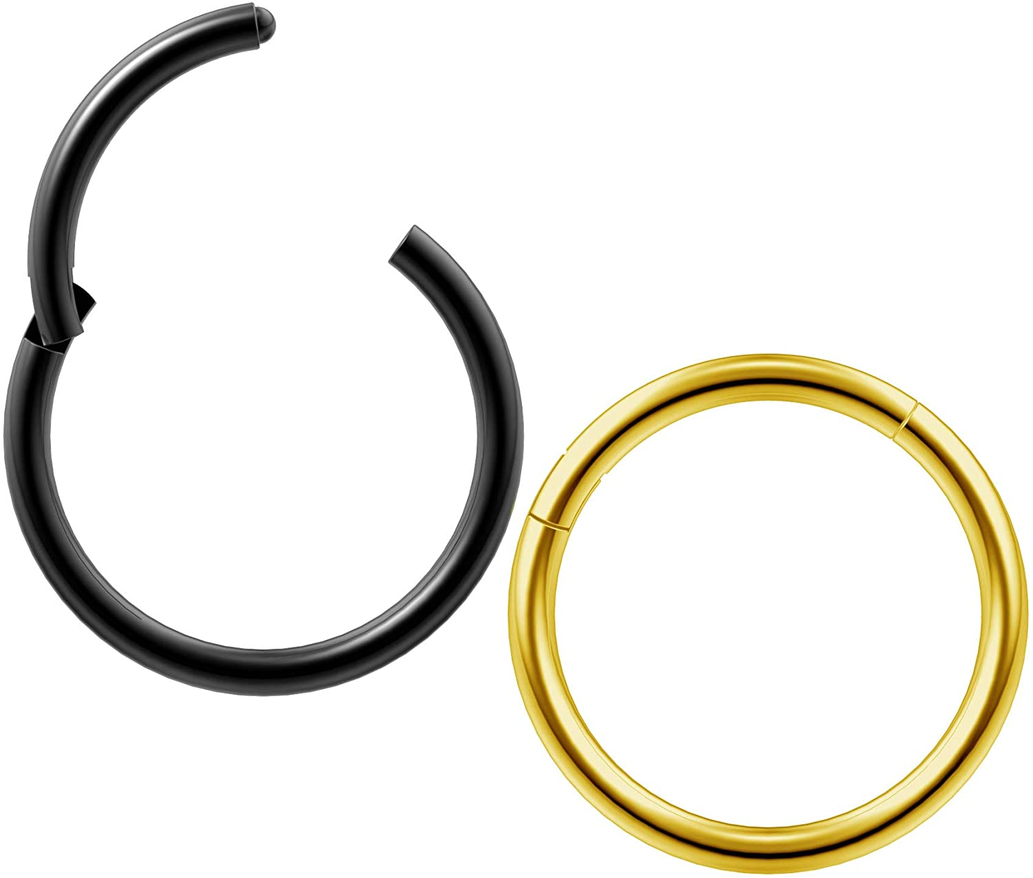 2pc 18g Clicker Nose Rings Hoop Septum Ring Ceptum Clickers Conch Piercing Jewelry 3/8 10mm