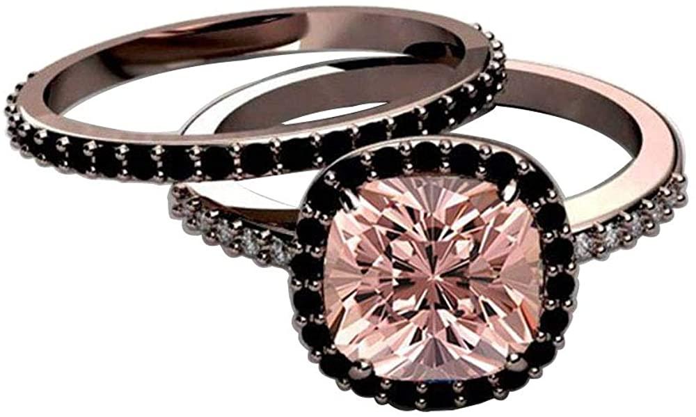 Dividiamonds Cushion Cut Morganite & Black CZ Halo Engagement Wedding Ring Set