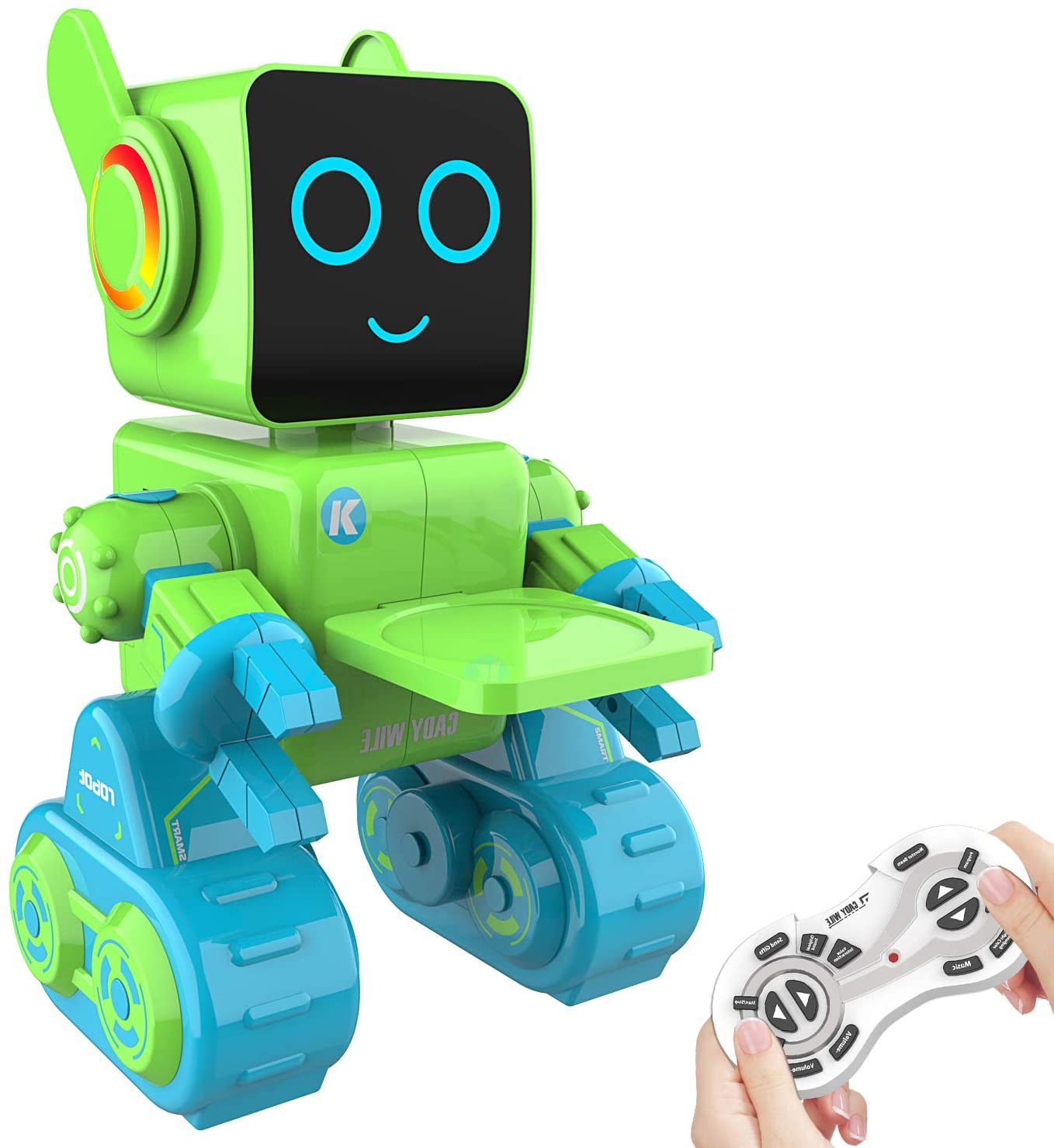 Aukfa Remote Control Robot for Kids, Intelligent Programmable Robotic Dancing, Singing, Talking, Voice Recording, Built-in Coin Bank, Gesture Sensing Rechargeable RC Toy for Boys, Girl