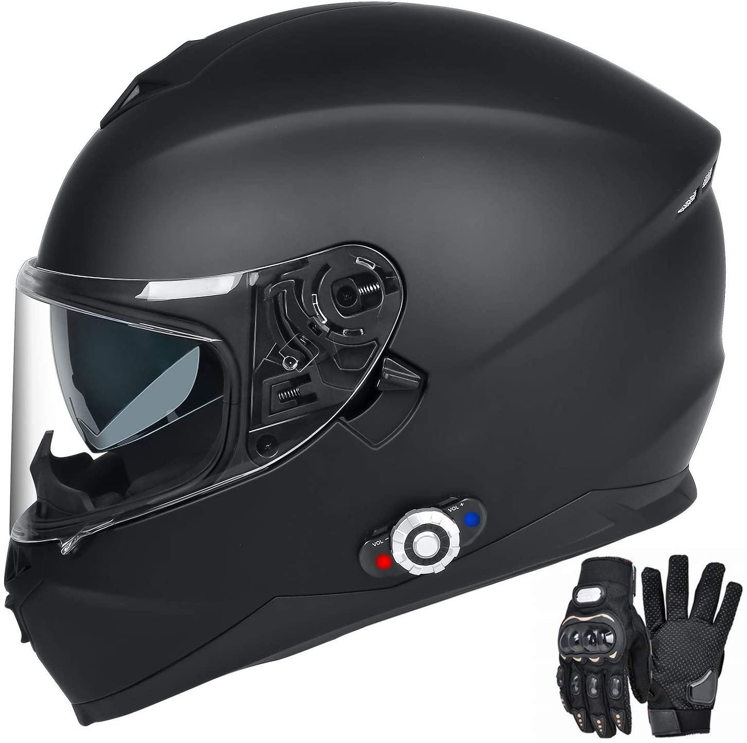 FreedConn Bluetooth Motorcycle Helmet DOT Full Face Bluetooth Helmets Motorcycle (Matte Black, L)
