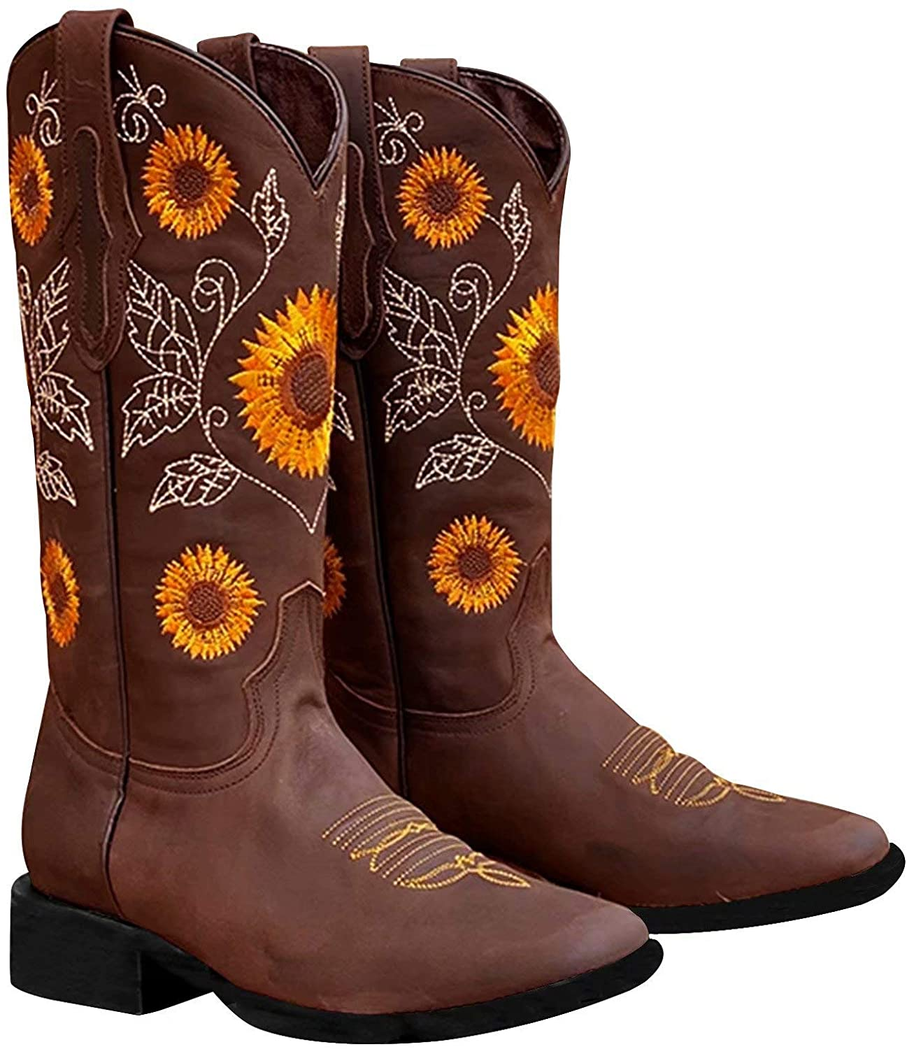Newbely Womens Mid-Calf Sunflower Embroidered Boots Snow Heels Cowboy Boots