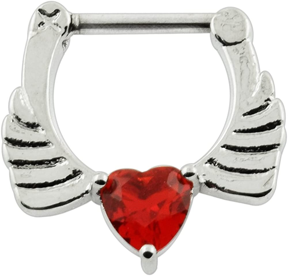 AtoZ Piercing Angel Wings with Red Heart CZ Stone 316L Surgical Steel Septum Clicker Septum Nose Ring