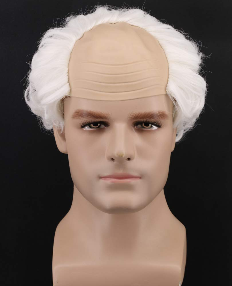 Yuehong Short Gray Old Men Wig Fluffy Bald Head Wig Synthetic Halloween Costumes Cosplay Wigs (White)
