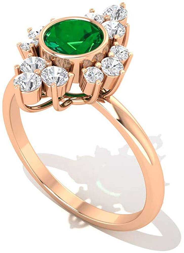 0.94 CT Solitaire Emerald SGL Certified Diamond Vintage Ring, Antique Diamond Cluster Halo Engagement Ring, Green May Birthstone Statement Flower Ring, 18K Gold