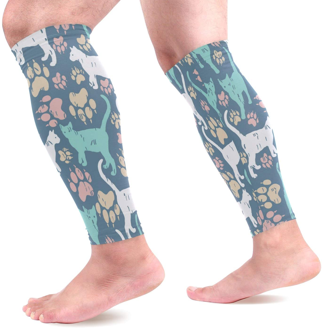 Calf Compression Sleeves Women Cat Paw Footprint Pattern Fantastic Footless Calf Compression Socks for Running, Shin Splint, Calf Pain Relief, Leg Support Sleeve for Running, Air Nurses, Cycling Men