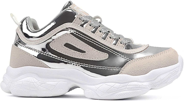 ASHION Women's Cool Running Sneakers Casual Walking Shoes Silver
