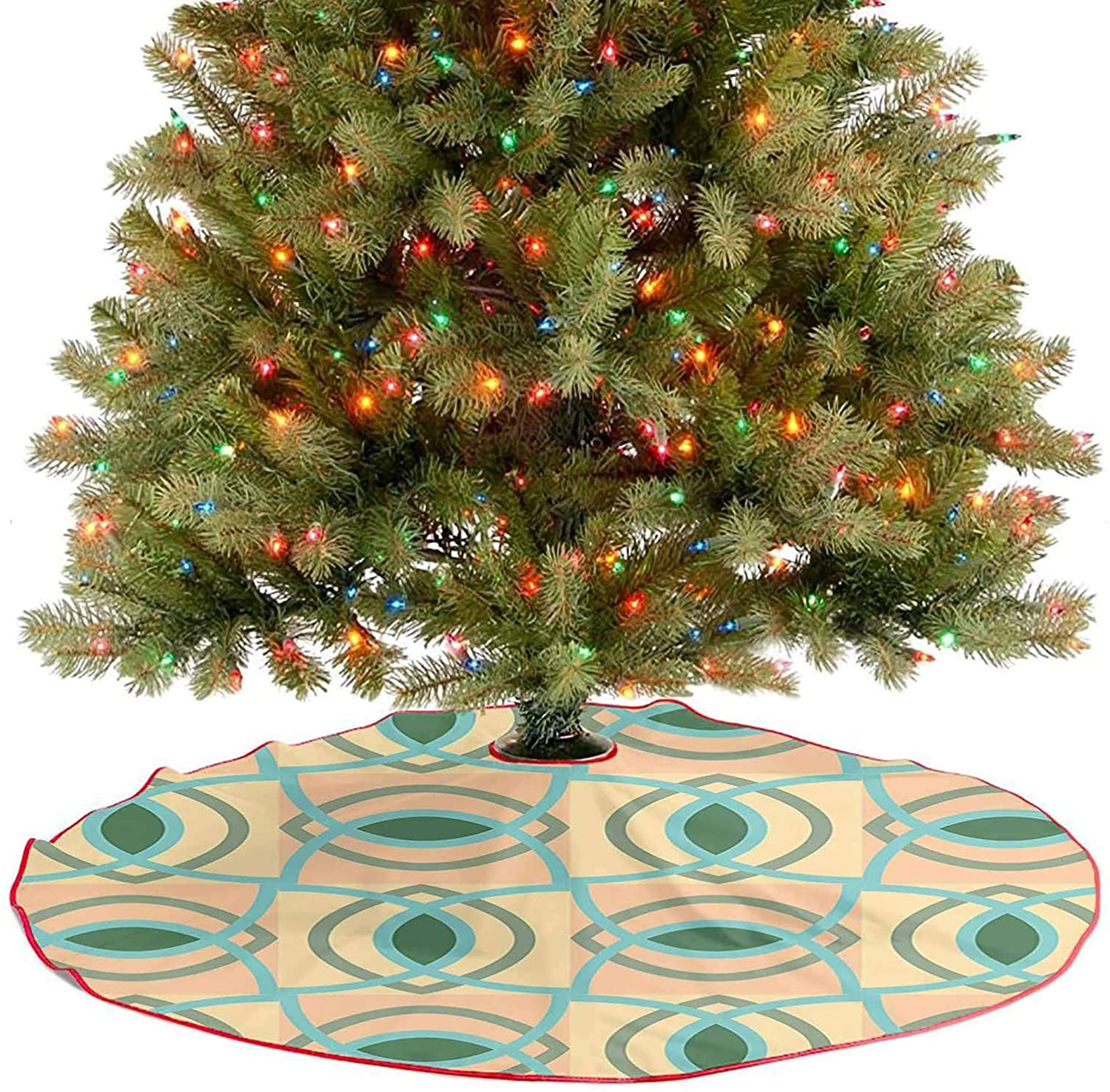 Rustic Xmas Tree Skirt Contemporary Geometric Design with Vector Tile Art Print Light Green Baby Blue and Xmas Party Holiday Decorations for Xmas Party Supplies Large Halloween - 48 Inch