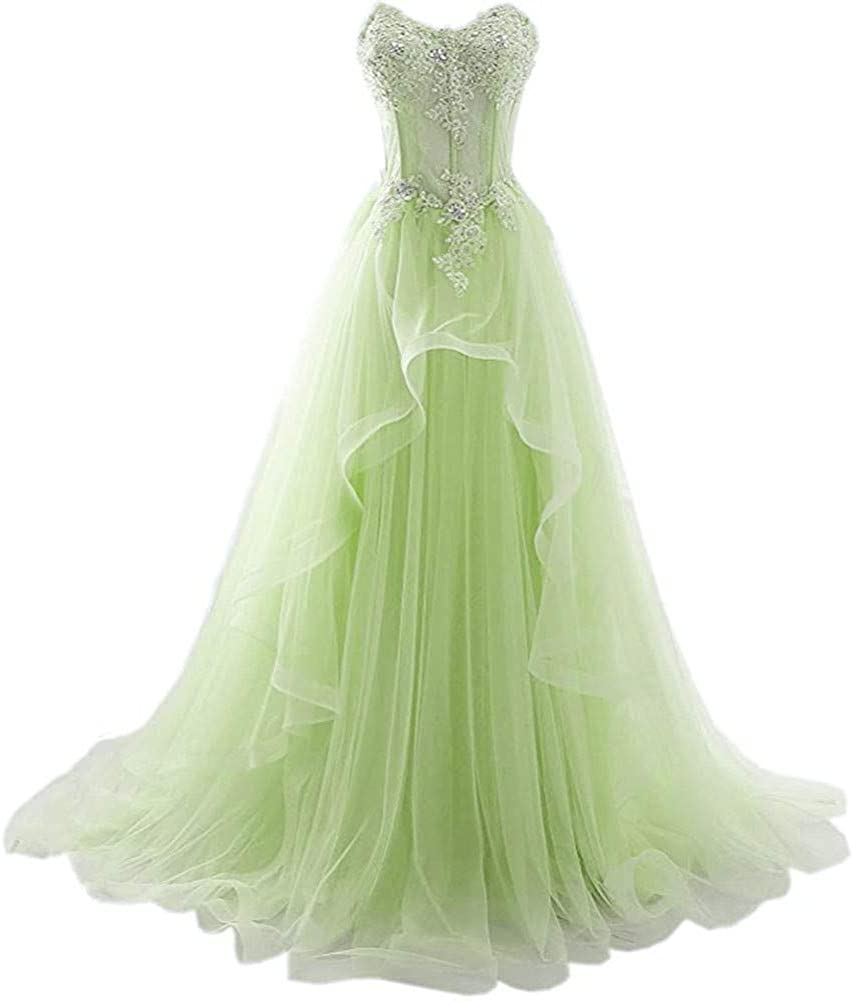 Snow Lotus Women's Evening Gown Applique Beaded Tulle Long Prom Wedding Dress