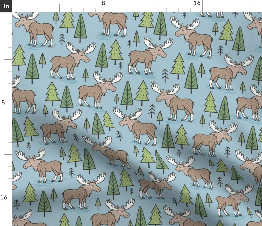 Spoonflower Fabric - Forest Woodland Moose Trees Blue Fall Autumn Christmas Printed on Chiffon Fabric by The Yard - Sewing Fashion Apparel Dresses Home Decor