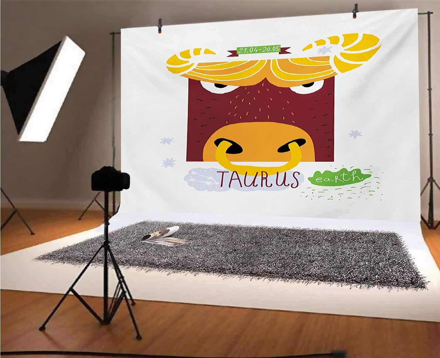 Zodiac Taurus 20x10 FT Vinyl Photography Backdrop,Cartoon Character Angry Bull Childish Hand Drawn Style Earth Sign and Dates Background for Photo Backdrop Baby Newborn Photo Studio Props