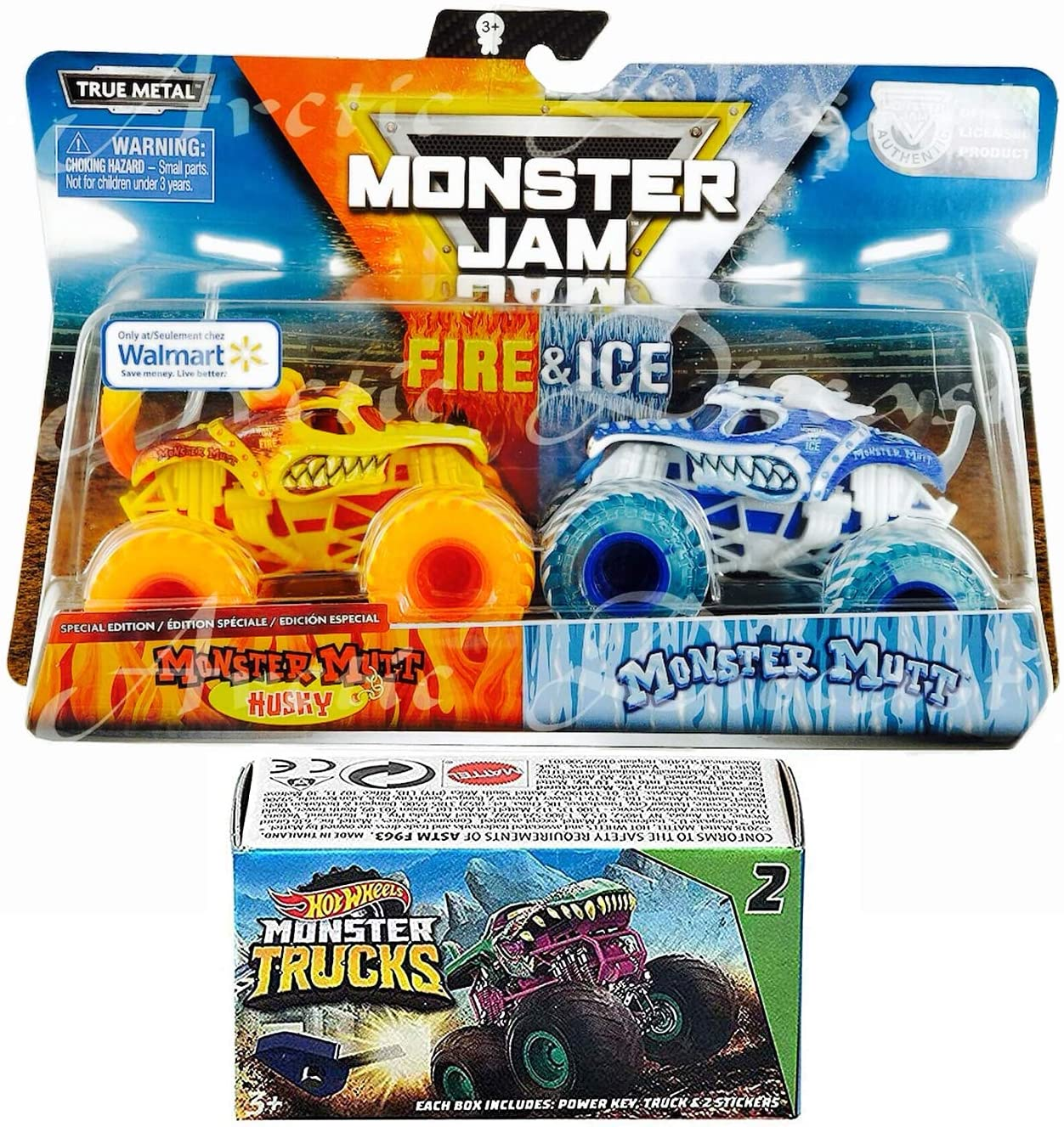 Husky Fire Mutt Truck Exclusive Edition & Blue Ice Action Jam Giant Official 2 Pack Pickup Bundled with Blind Box Series Mini Monster with Power Key Launcher 3 Items