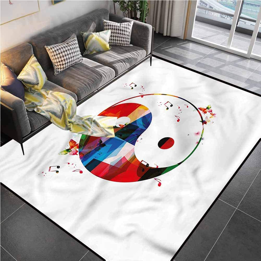 Area Rugs Print Large Carpet Ying Yang,Colorful Butterfly Music Stair Carpet for Living Playing Dorm Room Bedroom 6'x9'