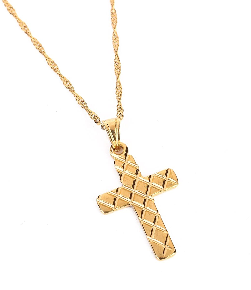 Trendy Gold Color Crucifix Cross Necklace Men Jesus Cross Chain Jewelry