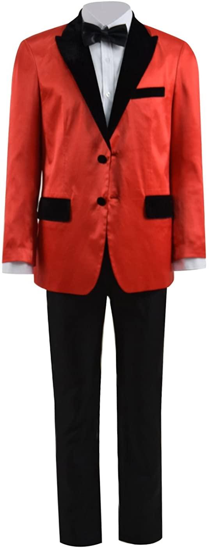 Very Last Shop Opera Phantom Costume Men's Red Satin Tuxedo Suits Set