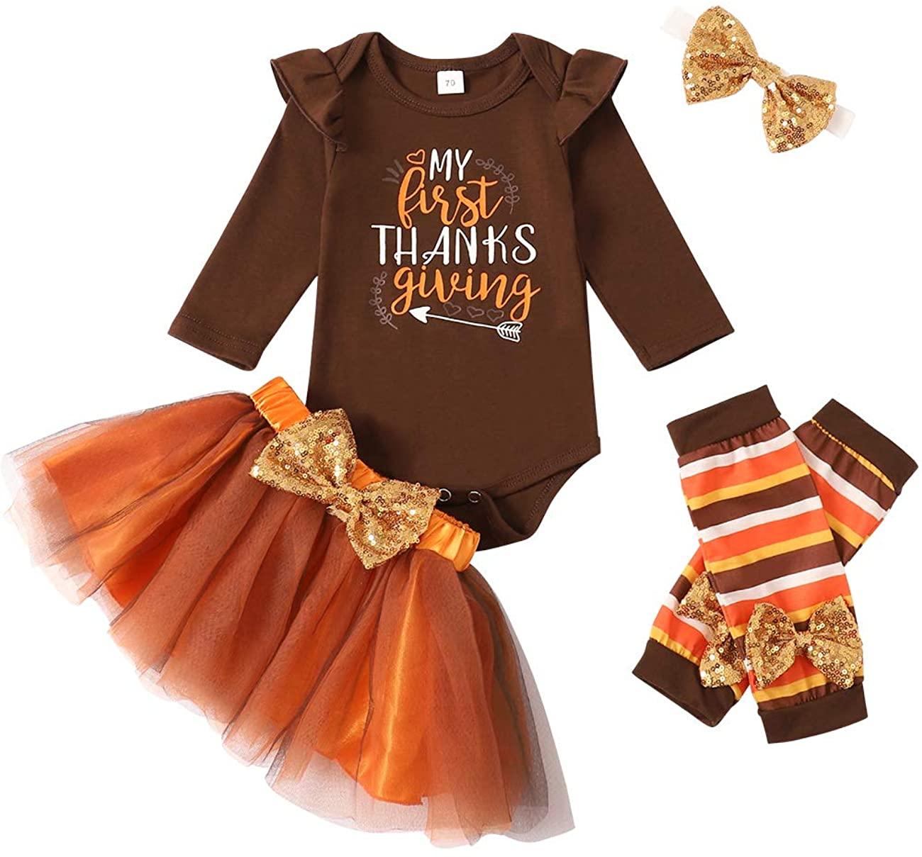 My First Thanksgiving Outfit Turkey Romper+Tutu Skirt+Legs+Headband Clothes Set