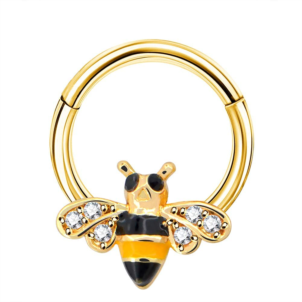 Jewseen Hinged Segment Ring Cute Bee Cartilage Earring 16G Nose Ring Septum Clicker Tragus Daith Helix Piercing Jewelry