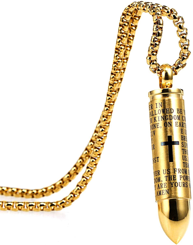 Herinos Stainless Steel Long Pendant Necklace Chain for Men Women Retro Wings Cross Feather Skull