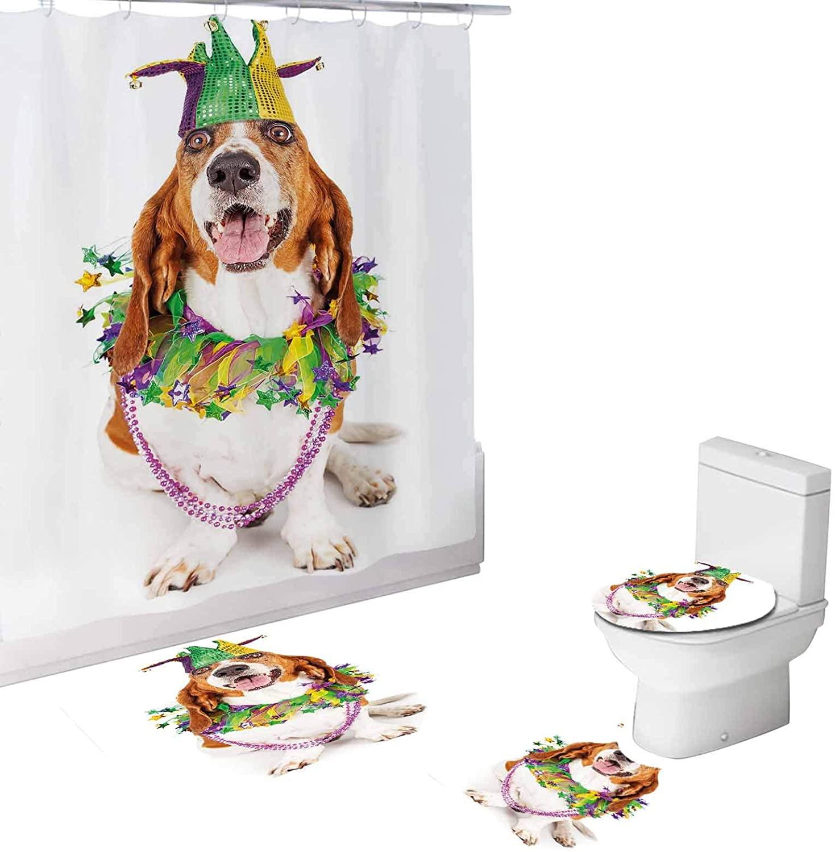Mardi Creative Colorful Printing Toilet Pad Cover Bath Mat Shower Curtain Set,Happy Smiling Basset Hound Dog Wearing,Shower Curtain mat 4 Sets for Bathroom Decor Multicolor