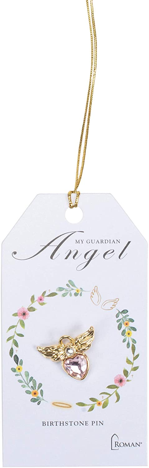 Roman 0.75 inches Angel Birthstone Gold Pin with Card