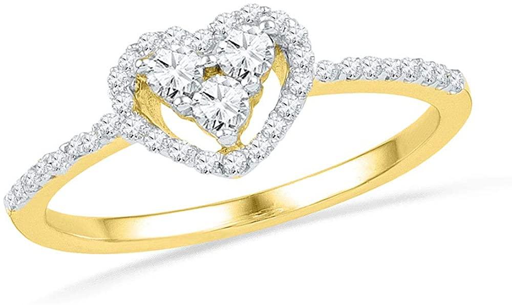 10kt Yellow Gold Round Diamond Slender Framed Heart Cluster Ring for Women 1/3 Cttw