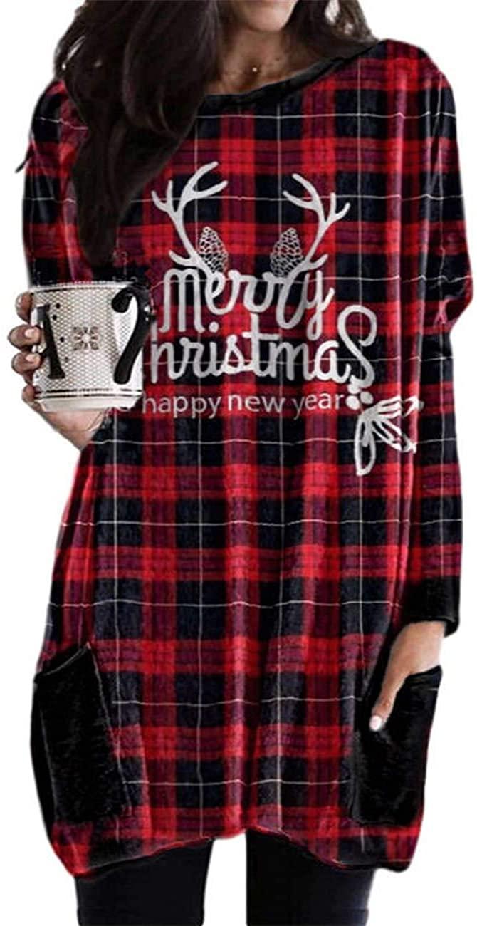 Women Christmas Long Sleeve Plaid Dress Ugly Xmas Santa Checkered Flared Aline Party Dresses Tunic Shirt with Pockets
