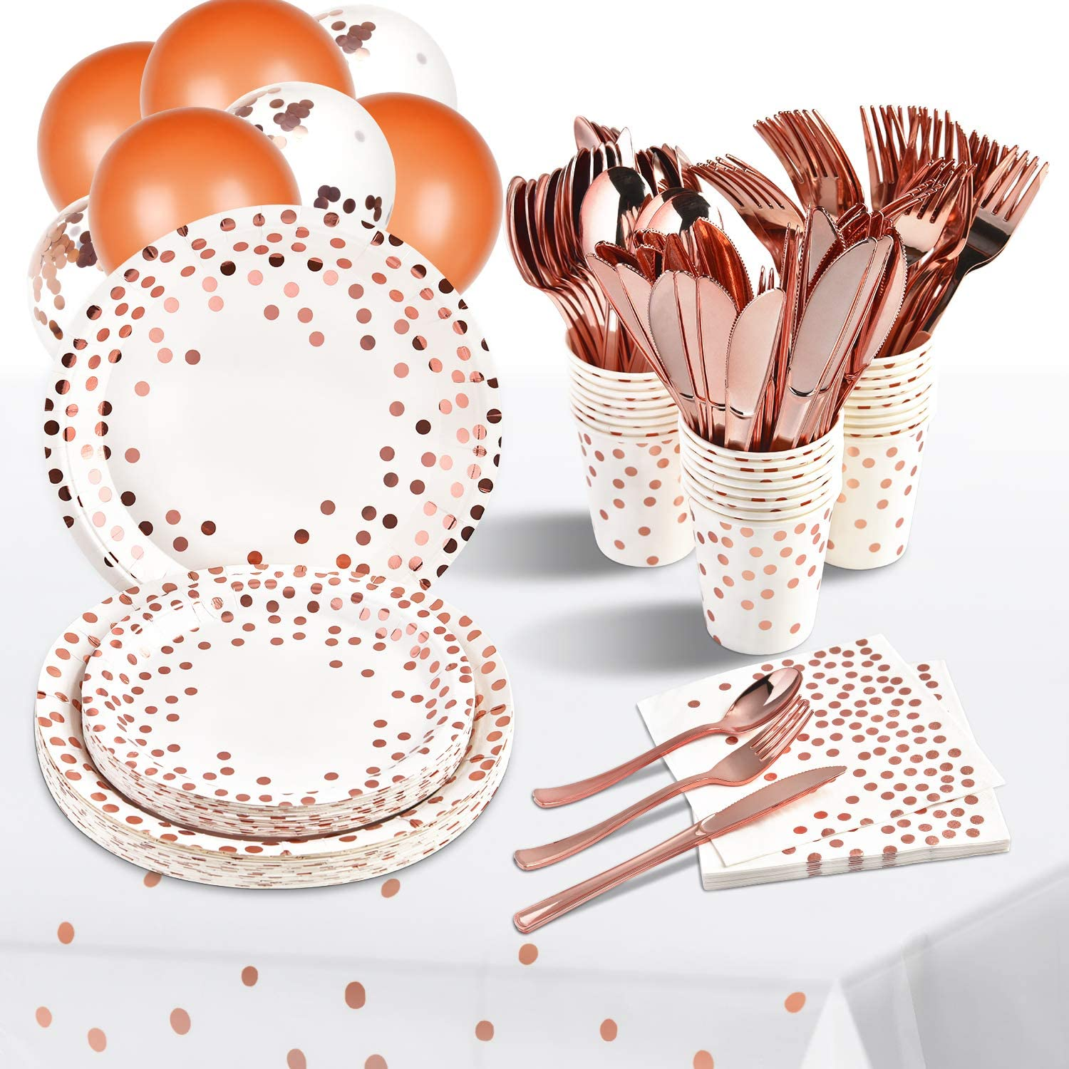 White and Rose Gold Party Supplies 216 PCS Disposable Dinnerware Set White Paper Plates Cups Napkins Rose Gold Plastic Forks Knives Spoons Balloons Tablecloth for Wedding Bridal Baby Shower Birthday