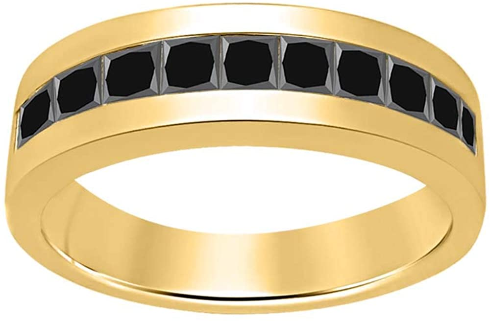 RUDRAFASHION Simple 14K Yellow Gold Plated Princess Cut Created Gemstones Wedding Band Ring for Men's