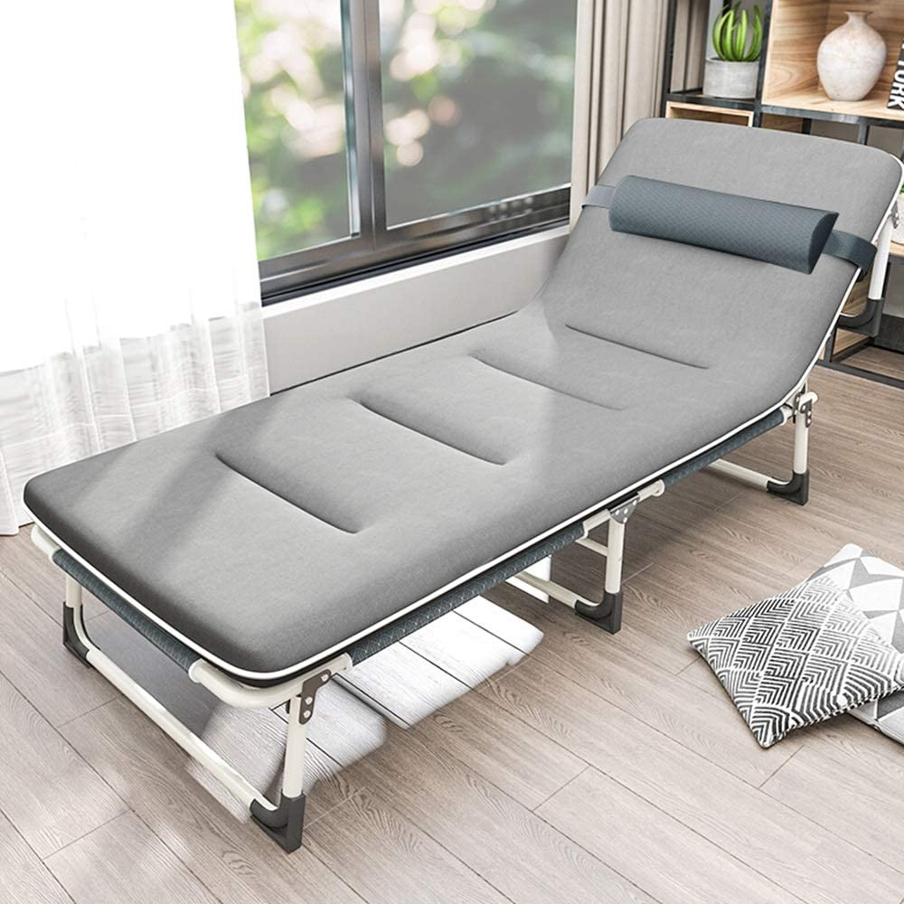 Teerwere Rollaway Folding Guest Bed Folding Bed Sofa Bed Office Nap Bed with Cotton Pad Package for Office Balcony Garden Beach for Bedroom and Office (Color : Gray, Size : 190X62X32CM)