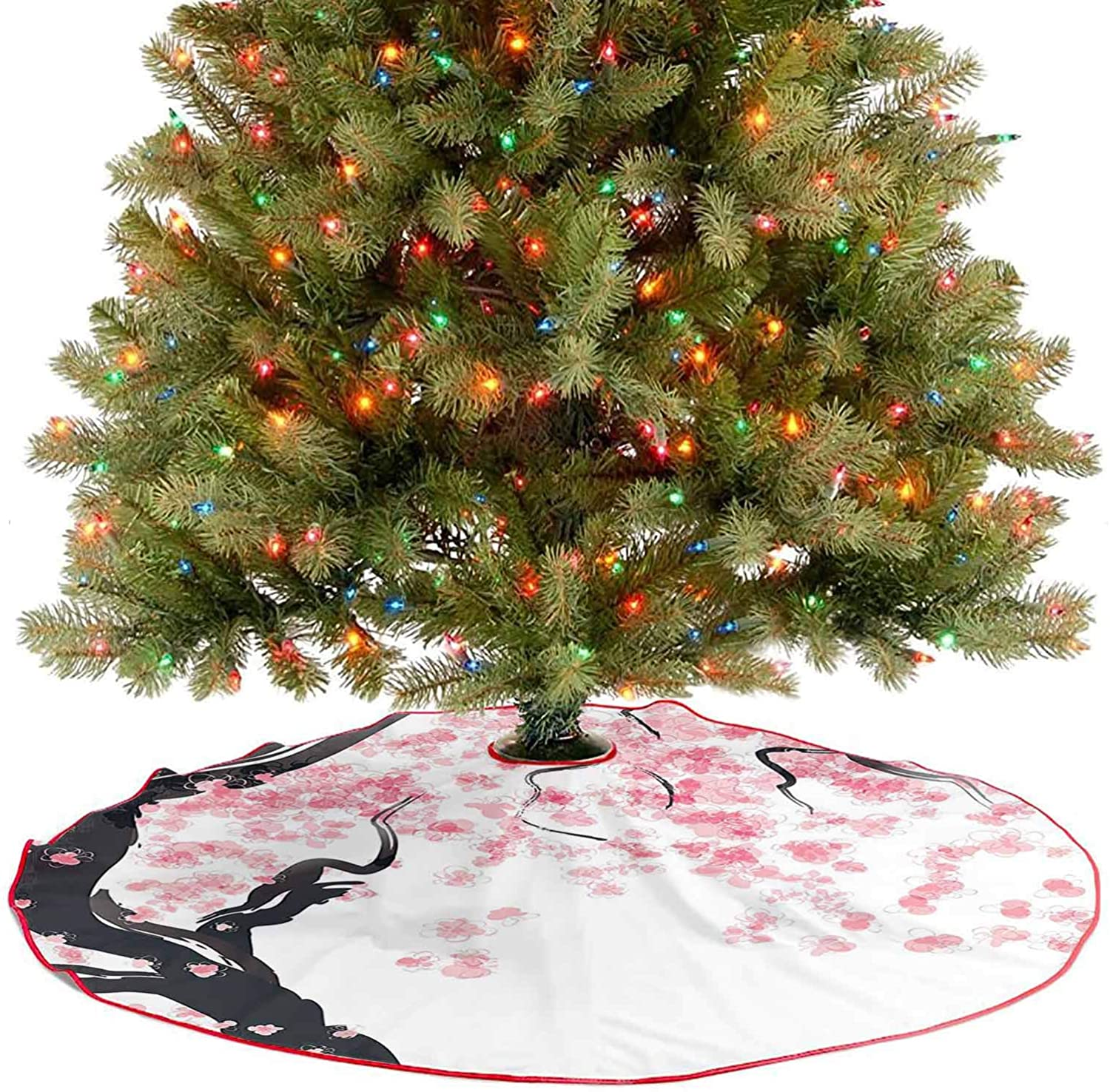 Adorise Tree Skirt Decor Japanese Cherry Tree Blossom in Watercolor Painting Effect Oriental Stylized Art Blac Decoration Ornaments for Xmas New Year Holiday Party Home - 36 Inch