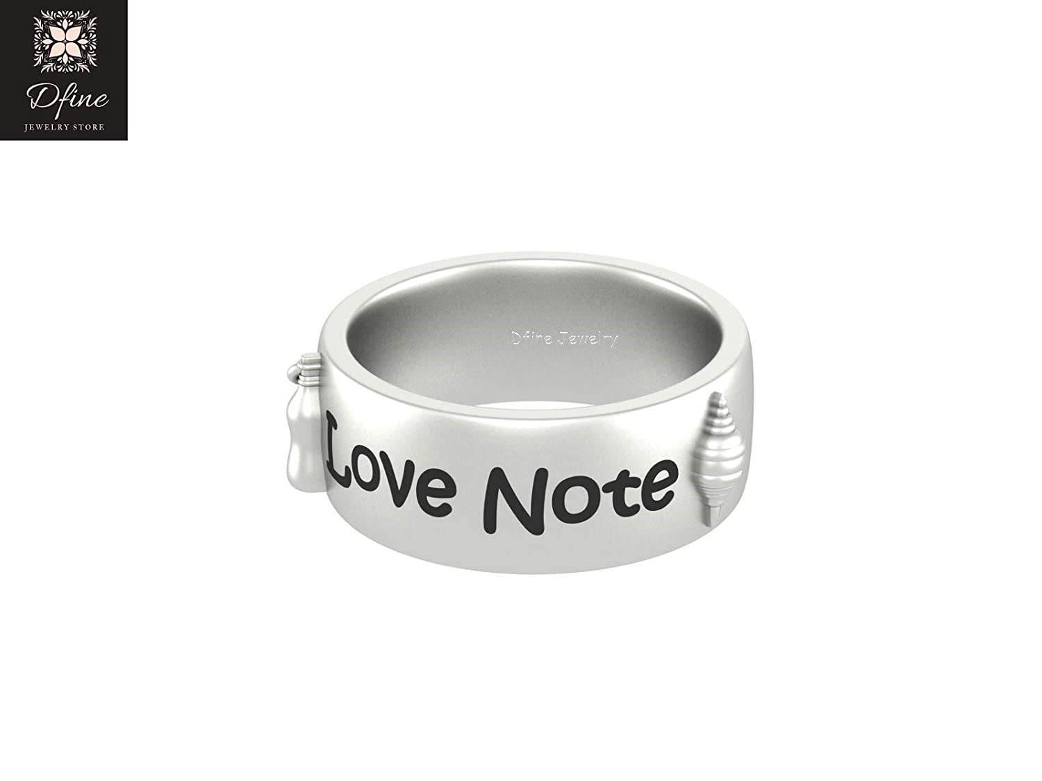 Solid 10k White Gold Sea Shell Marine Message Bottle Wedding Band Love Note Band Gift